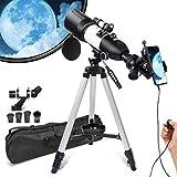Teleskop für Erwachsene und Kinder, Anfänger, 3 drehbare Okulare, 80 mm Blende, astronomisches Refraktations-Teleskop, HD hohe Vergrößerung, tragbar und...