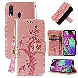 Miagon Brieftasche Flip Hülle für Samsung Galaxy A20e,Schön Schmetterling Baum Katze Design PU Leder Buch Stil Stand Funktion Handyhülle Case...