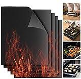 BBQ Grillmatte, 5er Set Schwarz Backmatte Antihaft Grillen und Grillfolie Wiederverwendbar für Holzkohlegrill, Elektrogrill, Gasgrill & Backofen Universell...
