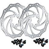 Boao 2 Stück 160 mm Fahrrad Scheiben Bremsscheibe mit 12 Schrauben Edelstahl Fahrrad Rotoren Schrauben für Rennrad, Mountainbike, MTB, BMX Fahrrad Zubehör...