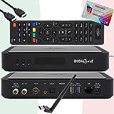 TiVuSat Karte 4K UHD aktiviert + DIGIQuest Q60 Combo Receiver 4K H.265 S2+T2 HEVC Set-Top Box, zertifizierter TiVuSat Receiver mit Karte, Mediaplayer, WebRadio,...