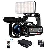 Camcorder 4K Videokamera, ORDRO AC5 UHD Camcorder mit 12x Opt. Zoom 3.1' IPS Touchscreen HD 1080P 60FPS Digitale WiFi Kamera Camcorder mit Mikrofon, Videolicht