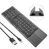Jelly Comb Bluetooth Tastatur Kabellos/mit Kabel, Dual Modus Faltbare Funktastatur mit Touchpad für PC, Laptop, Computer, Smart TV, iPad, Android Tablets,...