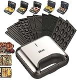 5in1 Sandwichmaker 800W 5 auswechselbare Platten Waffeleisen Kontaktgrill Elektrogrill Multigrill Nussbäcker Zaubernuss Oreschki Maker