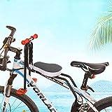 Audor Kindersitz Fahrradsitz Kind Modischer Abnehmbarer Fahrrad-Vordersitz Kindersitz Pedal mit Griff für Herrenfahrrädern und Damenrädern (Schwarz)