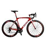 SAVADECK HERD9.0 700C Kohlefaser Rennrad Radfahren Fahrrad mit Campagnolo Centaur 22 Speed Groupset und Fizik Sattel (52cm, Weiß Rot)