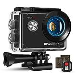 Dragon Touch Action Cam 4K, Action Kamera 20MP EIS Anti-Shake-Unterstützung Externes Mikrofon Unterwasserkamera 30M wasserdicht Sportskamera mit...