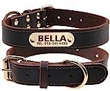 TagME Personalisierte Hundehalsbänder aus Leder mit Eingraviertem Namen und Telefonnummer / Hundehalsbänder aus Echtem Leder für Mittlere und Große Hunde /...