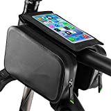 Xhtoe Rahmentaschen Doppeltasche Fahrradrahmentasche wasserdichte Fahrradfront Top Tube Tasche for Mountain Road Bike TPU Touchscreen Head Tube Crossbar Tasche...