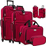 KESSER® 4tlg Trolley Kofferset | Reisekoffer Set mit Rollen | Komplettes Business 4er Set | S M L XL | Netzfach | Rollen | Teleskopgriff | Koffer Reisetaschen...