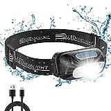 Cocoda Stirnlampe LED Wiederaufladbar, Kopflampe Stirnlampe Kinder, 5 Beleuchtungsmodi, Wasserfeste Leichtgewichts Mini LED Stirnlampe Rotlicht für Laufen,...