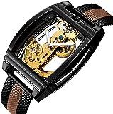 ZFAYFMA Männer automatische Uhr hohl zifferblatt Lederband multifunktionale tourbillon mechanische Uhr wasserdichte Steampunk Edelstahl bewegungsuhr Mode...