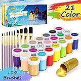 Gifort Acrylfarben Set mit 10 Pinsel, 21 Farb-Pigmenten je 20 ml, Acrylfarben auf Wasserbasis für Steine, Holz, Papier und Leinwand, Acryl Farben Set für...