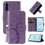 Miagon Brieftasche Flip Hülle für Huawei P30 Pro,Schön Schmetterling Baum Katze Design PU Leder Buch Stil Stand Funktion Handyhülle Case Cover,Lila