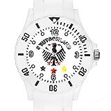 Taffstyle Fanartikel Silikon Armbanduhr Gummi Trend Watch Quarz Fan Uhr mit Fussball Weltmeisterschaft WM & EM Europameisterschaft 2016 Länder Flaggen Style - Deutschland Weiß mit Adler