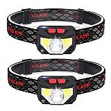 ZOYJITU LED Stirnlampe IPX4 Wasserdicht Kopflampe Super Hell 60 ° Einstellbare USB Wiederaufladbare Stirnleuchte für Camping Wandern Joggen 2 Stück