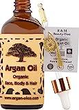 R&M Arganöl Bio kaltgepresst – Marokkanisches Fair Trade Öl für Haare, Gesicht, Nägel und Lippen, sowie gegen Narben und Pickel & als Massageöl –...