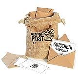 Geschenkepost Postsack mit 12 Briefumschlägen für Geldgeschenk oder Gutscheine, ein Beutel bedruckt aus Jute, 12 Umschläge aus Kraftpapier, inkl. 12...