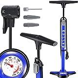 KESSER® Standluftpumpe mit Manometer, Fahrrad-Luftpumpe Standpumpe passend für alle Ventile (AV, DV, SV,I) Doppelpumpenkopf, 3 Adaptern Rennrad, Mountainbike,...
