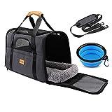 morpilot Faltbare Hundetragetasche Katzentragetasche, Haustiertragetasche, Transporttasche Transportbox Oxford Gewebe, mit Schultergurt und Faltbare Hundenapf...