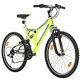Fahrrad MTB Mountainbike Fully Full Suspension 26 Zoll Bikesport PARALLAX Shimano 18 Gang (Neongrün)