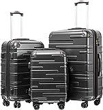 COOLIFE Hartschalen-Koffer Rollkoffer Reisekoffer Vergrößerbares Gepäck (Nur Großer Koffer Erweiterbar) ABS Material mit TSA-Schloss und 4 Rollen(Grau,...