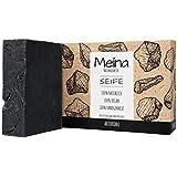 Meina Naturkosmetik - Schwarze Seife mit Aktivkohle ohne Palmöl, Naturseife gegen fettige und unreine Haut, Vegan, Handgemacht (1 x 100 g)
