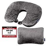 Dunlopillo 2 in 1 Reisekissen und Nackenhörnchen 31x21 cm - Nackenkissen für das Flugzeug & zum Reisen - Travel Pillow - Ergonomisches Kopfkissen mit...