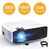 Beamer APEMAN Mini Beamer 3800 Lumen 1080P Full HD Unterstützt Aktualisierte Tragbar Projektor LED 45000 Stunden Heimkino Sport HDMI/TF/USB TV Box/Chromecast...