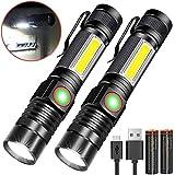 Taschenlampe LED Magnet USB Aufladbar Zoombar (Mit 18650 Akku) Karrong COB Arbeitsleuchte Super Hell, Outdoor Wasserdicht Taschenlampen, 4 Modi für Kinder...