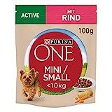 PURINA ONE Mini/Small Active Hundefutter nass für kleine Hunde, reich an Rind & Gemüse, 20er Pack (20 x 100g)