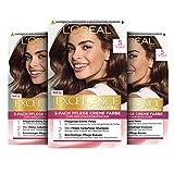 L'Oréal Paris Excellence Creme Permanente Haarfarbe, 100% Grauhaarabdeckung, Haarfärbeset mit Coloration, Shampoo und 3-fach Pflegecreme, 5 Hellbraun, 3 x 268...