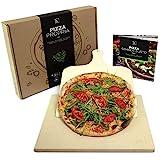 #benehacks Pizza Propria Pizzastein 1,5cm für Backofen & Grill - 30 x 38 x 1,5 cm - Set zum Backen inkl. Pizza-Rezeptbuch & Pizzaschaufel & Geschenkverpackung