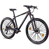 CHRISSON 27,5 Zoll Mountainbike Hardtail - Cutter 3.0 schwarz orange 46 cm - Hardtail Mountain Bike mit 27 Gang Shimano Acera Kettenschaltung - MTB Fahrrad für...