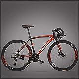 AYHa Rennrad, Erwachsene Person High-Carbon Stahlrahmen Ultra-Light Fahrrad, Carbon-Faser-Gabel Endurance-Straßen-Fahrrad, Stadtdienst Bike,rot,21...