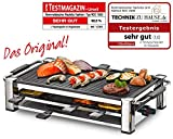 ROMMELSBACHER RCC 1500 Raclette-Grill (extra langes Kabel (2m), Tischgrill für 8 Personen, gerippte Alu-Druckguss-Grillplatte, Xylan Plus Antihaftbeschichtung,...