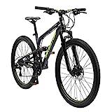BIKESTAR Fully Aluminium Mountainbike Shimano 21 Gang Schaltung, Scheibenbremse 26 Zoll Reifen | 16 Zoll Rahmen Alu MTB Vollgefedert | Schwarz