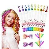 Haarfärbemittel Haarkreide für Mädchen, Emooqi 10 Farben Temporäre Haarfarbe Auswaschbar Haarkreide für Kinder, Haarschmuck mit Haargummi & Haarspange für...