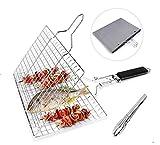 Grsafety2019 Gegrillten Fisch Edelstahl 430, klappbarer Grillrost für gebratenes Fischgemüse Garnelensteak, mit 1 Küchenzange und Aufbewahrungstasche, 32 x...