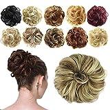 Feshfen Haargummi-Haarteil, für Haarknoten/Pferdeschwanz, Haarverlängerung, gewellt, unordentlicher Haarknoten, Dutt, Hochfrisur, Haarteil, A26 - Blonde &...