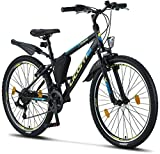 Licorne Bike Guide Premium Mountainbike in 26 Zoll - Fahrrad für Mädchen, Jungen, Herren und Damen - 21 Gang-Schaltung - Schwarz/Blau/Lime