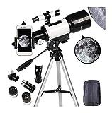 DZHTSWD-Teleskop for Erwachsene, 70mm Teleskop for Anfänger und Kinder, Refraktor for das Betrachten von Mond sternengazing Outdoor-Aktivitäten Stativ und...