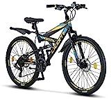 Licorne Bike Strong D Premium Mountainbike in 26 Zoll - Fahrrad für Jungen, Mädchen, Damen und Herren - Scheibenbremse vorne und hinten-Shimano 21...