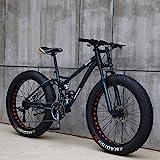 Wind Greeting 26 Zoll Mountainbike,24 Gang-Schaltung Erwachsene Fette Reifen Fahrrad,Rahmen aus Kohlenstoffstahl,Vollfederung Scheibenbremsen Hardtail Bike...