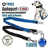 O³ PETS Hundegurt fürs Auto// 2 Stück // Anschnallgurt für Hunde mit Stecker fürs Gurtschloss // längenverstellbarer Gurt mit elastischem Ruckdämpfer //...