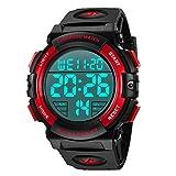 Digital Herren Uhren - Sport Outdoor Armbanduhr 5 ATM wasserdichte Uhren mit Wecker/Kalender/Stoppuhr/Stoßfest