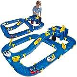 BIG Waterplay Niagara - Wasserbahn blau, 130 x 90 x 22cm große Bahn, mit 3 Booten, Wasserflugzeug und 4 Spielfiguren, 2 Schleusen und Handkurbel zur...
