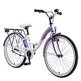 BIKESTAR Jugendfahrrad Kinderfahrrad für Mädchen ab 9 Jahre | 24 Zoll Kinderrad Classic | Fahrrad für Kinder Lila & Weiß | Risikofrei Testen