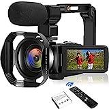 4K Camcorder Videokamera 48.0MP18X Ultra HD Vlogging Kamera Digitale Zoom Camcorder mit wiederaufladbarem externem Mikrofon, Stabilisator Handheld und Haube