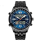 SunJas Armbanduhr Sportuhren 30 Meter wasserdicht Militär zwei Zeitzonen mit Kalenderfunktion zifferblatt Uhr Digital Led Alarm Kalender Uhren Watches für...